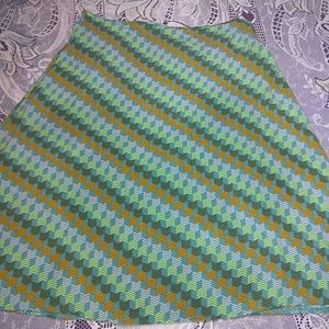 H&M Rayon Chevron Print A-line Teal Orange Skirt